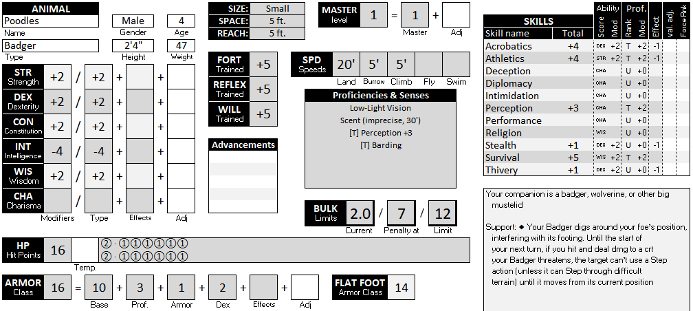 The top part of the Animal Companion sheet