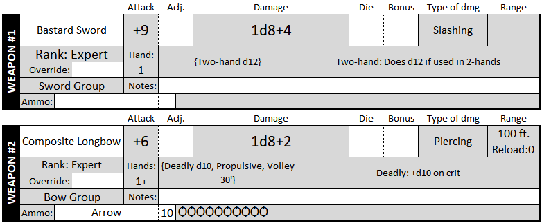 Two of the 6 weapon slots