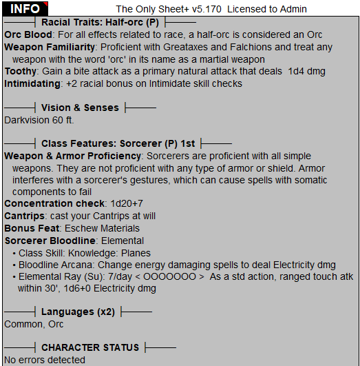 The Only Sheet | Character Sheet for D&D3 5 & Pathfinder RPG